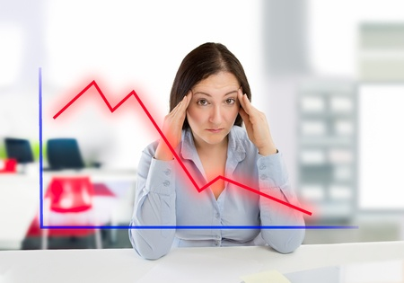 Woman frustrated by income decreasing.