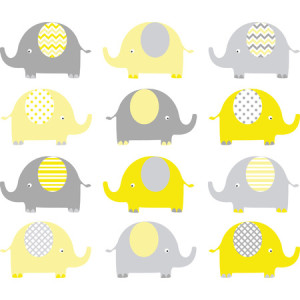 42305501 - yellow and grey cute elephant collections