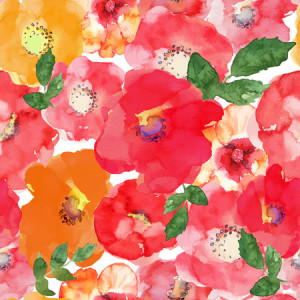 46882745 - abstract seamless watercolor hand painted background. isolated red, orange, yellow flowers and green leafs. vector illustration.