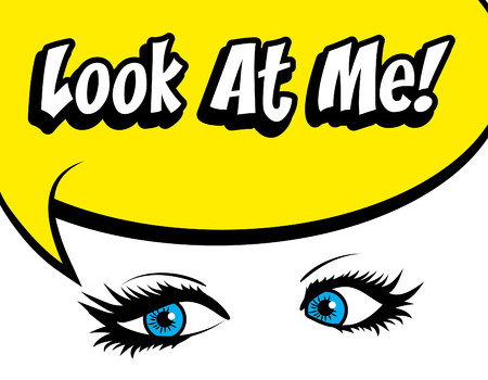 53493231 - pop art eyes with look at me typography